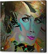 Abstract Portrait Of A Blue Lady Acrylic Print by Doris Wood