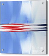 Abstract Red White And Blue Silver Rocket Square Acrylic Print