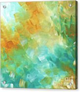 Abstract Textured Decorative Art Original Painting Gold And Teal By Madart Acrylic Print