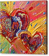 Abstract Valentines Love Hearts Acrylic Print by Julia Apostolova