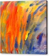 Abstract Watercolor Painting With Fire Flames Acrylic Print