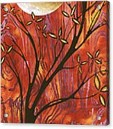 Abstract Wood Pattern Painting Original Landscape Art Moon Tree By Megan Duncanson Acrylic Print
