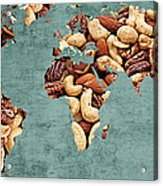 Abstract World Map - Mixed Nuts - Snack - Nut Hut Acrylic Print