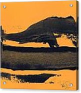Abstracto Black Yellow Acrylic Print
