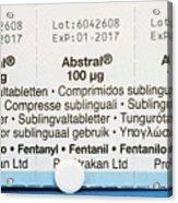 Abstral Painkiller Drug Acrylic Print