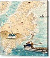 Accomplice Kodiak Crab Fishing Boat Cathy Peek Nautical Chart Map  Acrylic Print