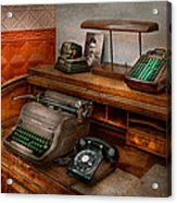 Accountant - Typewriter - The Accountants Office Acrylic Print by Mike Savad
