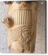 Achaemenian Soldier Relief Sculpture Wood Work Acrylic Print by Persian Art