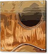 Acoustic Guitar Brown Background 2 Acrylic Print
