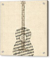 Acoustic Guitar Old Sheet Music Acrylic Print by Michael Tompsett