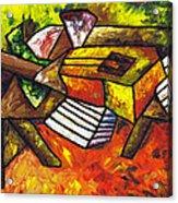 Acoustic Guitar On Artist's Table Acrylic Print