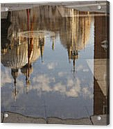 Acqua Alta Or High Water Reflects St Mark's Cathedral In Venice Acrylic Print