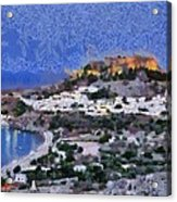 Acropolis Village And Beach Of Lindos Acrylic Print