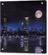 Across The Charles At Night Acrylic Print by Jack Skinner