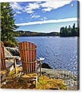 Adirondack Chairs At Lake Shore Acrylic Print