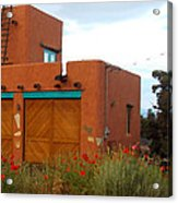 Adobe House And Poppies Acrylic Print