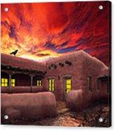 Adobe Sunset Acrylic Print by Ric Soulen