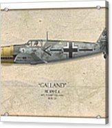 Adolf Galland Messerschmitt Bf-109 - Map Background Acrylic Print