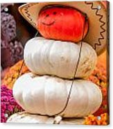 Adorable Cowboy Pumpkin Figures Made From Pumpkins Acrylic Print