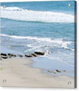 Adult Man Working On A Large Sand Acrylic Print