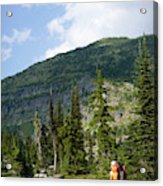 Adult Woman Hiking Through An Alpine Acrylic Print