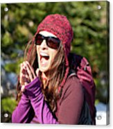 Adult Woman Laughing Out Loud While Acrylic Print