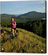 Adult Woman Trail Running Acrylic Print