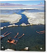 Adults Bathing In Hot Springs Acrylic Print