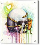 Adventure Time Jake Hugging Skull Watercolor Art Acrylic Print