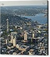 Aerial Image Of The Seattle Skyline  Acrylic Print