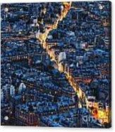 Aerial Night View Of Paris Acrylic Print