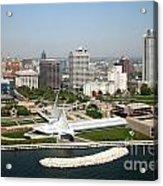 Aerial Of Milwaukee Skyline Acrylic Print