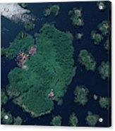 Aerial Of Small Island Village, Uganda Acrylic Print