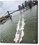 Aerial View - Red Tourist's Boat At East River Acrylic Print