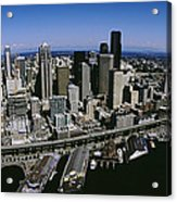 Aerial View Of A City, Seattle Acrylic Print