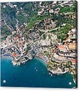 Aerial View Of A Town, Atrani, Amalfi Acrylic Print