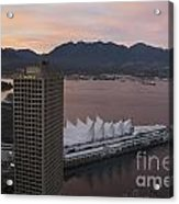 Aerial View Of Canada Place At Sunse Acrylic Print