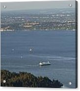 Aerial View Of Ferry Boats On Puget Sound Leaving Bainbridge Isl Acrylic Print