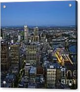 Aerial View Of Melbourne At Night Acrylic Print