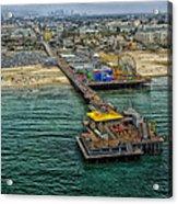 Aerial View Of Santa Monica Pier Acrylic Print