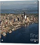 Aerial View Of Seattle Skyline With Elliott Bay And Ferry Boat Acrylic Print