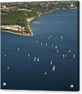 Aerial View Of Seattle Skyline With Sailboat Race On Puget Sound Acrylic Print