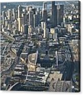 Aerial View Of Seattle Skyline With The Pro Sports Stadiums Acrylic Print