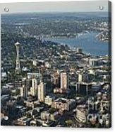 Aerial View Of Space Needle And Lake Union Acrylic Print