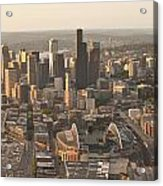 Aerial View Of The Seattle Skyline With Stadiums Acrylic Print