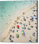 Aerial View Of Tourists On Beach Acrylic Print