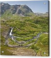 Aerial View Of Waterfall And River In Acrylic Print