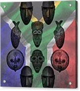 Africa Flag And Tribal Masks Acrylic Print