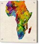 Africa Watercolor Map Acrylic Print by Michael Tompsett