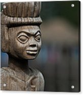 African Aging Wooden Sculpture Acrylic Print